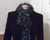 Fluffy Scarf with black fluff and green and turquoise bubbles
