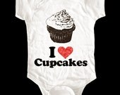 I Love (Heart) Cupcakes shirt - Printed on Soft Cotton Baby Onesie, Toddler shirts