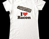 I Love (Heart) Bacon shirt - Soft Cotton T Shirts for Women, Men/Unisex, Kids