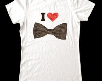 I Love (Heart) Bow tie shirt - Soft Cotton T Shirts for Women, Men/Unisex, Kids