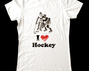 I Love (Heart) HOCKEY - Soft Cotton T Shirts for Women, Men/Unisex, Kids