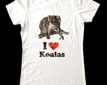 I Love (Heart) KOALAS - Soft Cotton T Shirts for Women, Men/Unisex, Kids