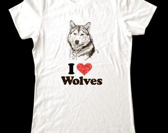 I Love (Heart) WOLVES - Soft Cotton T Shirts for Women, Men/Unisex, Kids