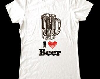 I Love (Heart) BEER - Soft Cotton T Shirts for Women, Men/Unisex, Kids