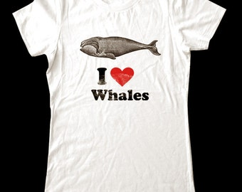 I Love (Heart) WHALES - Soft Cotton T Shirts for Women, Men/Unisex, Kids