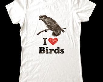 I Love (Heart) BIRDS - Soft Cotton T Shirts for Women, Men/Unisex, Kids