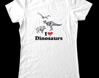 I Love (Heart) DINOSAURS Shirt design 2 - Soft Cotton T Shirts for Women, Men/Unisex, Kids