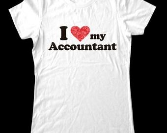 I Love (Heart) my Accountant shirt - Soft Cotton T Shirts for Women, Men/Unisex, Kids