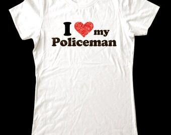 I Love (Heart) my Policeman shirt - Soft Cotton T Shirts for Women, Men/Unisex, Kids