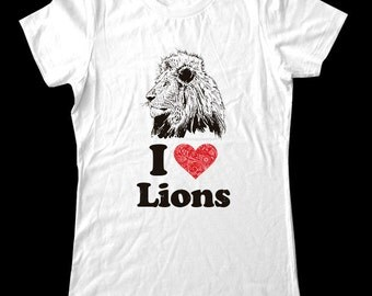 I Love (Heart) Lions Tee Shirt - Soft Cotton T Shirts for Women, Men/Unisex, Kids