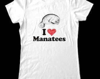 I Love (Heart) Manatees - Soft Cotton T Shirts for Women, Men/Unisex, Kids