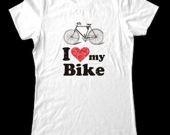 I Love (Heart) my Bike Shirt - Soft Cotton T Shirts for Women, Men/Unisex, Kids