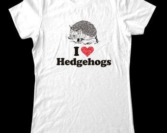 I Love (Heart) Hedgehogs - Soft Cotton T Shirts for Women, Men/Unisex, Kids
