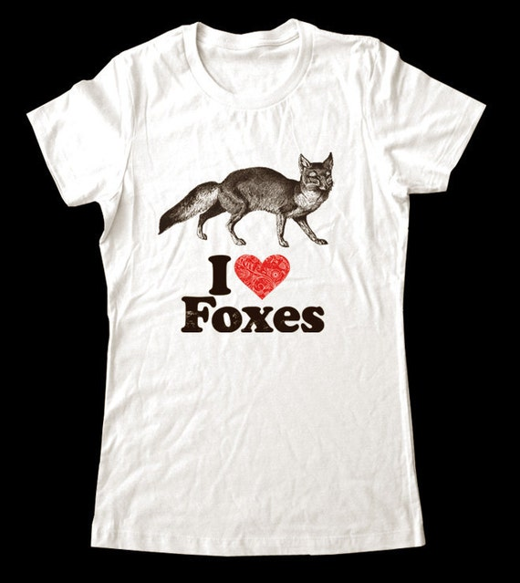 I Love (Heart) Foxes - Soft Cotton T Shirts for Women, Men/Unisex, Kids