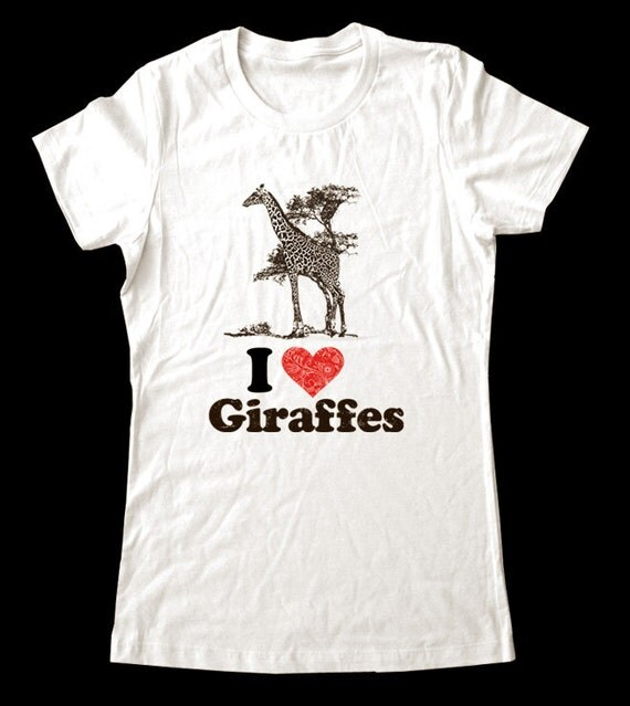 I Love (Heart) GIRAFFES - Soft Cotton T Shirts for Women, Men/Unisex, Kids