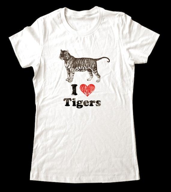 I Love (Heart) TIGERS - Soft Cotton T Shirts for Women, Men/Unisex, Kids