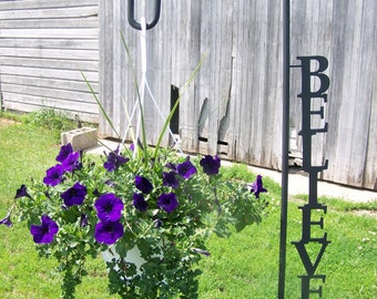 Shepherd Hook Inspirational Word Yard Garden Decor Art Plant Holder Hook believe laugh family dream inspire welcome imagine