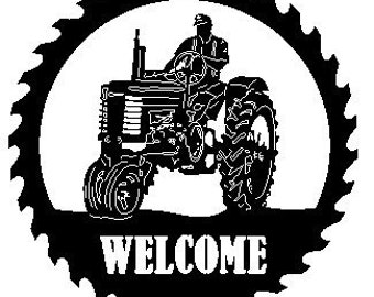 John Deere Tractor Sawblade with Man Welcome Sign