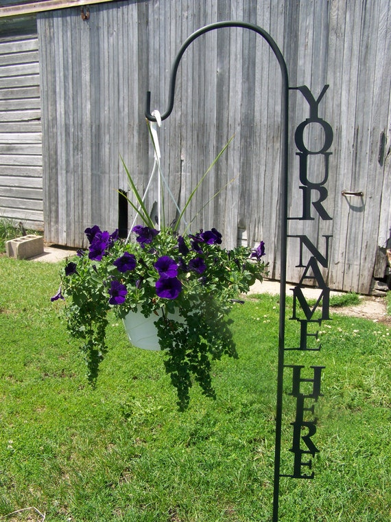 Shepherd hook personalized with your name yard garden decor for Flower garden decorations