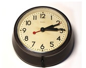 ORIGINAL vintage industrial  factory office electric WALL CLOCK with brown bakelite case