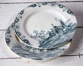 Set of 2 very OLD Beautiful French Terre de fer Plates - Pattern DELFT  SHABBY Chic