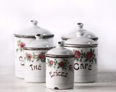 EXCEPTIONAL beautiful Set of 5 HANDPAINTED french ENAMEL Canisters 1900 Signed