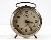 Beautiful vintage French Jaz Metal Alarm CLOCK - LOFT DECO