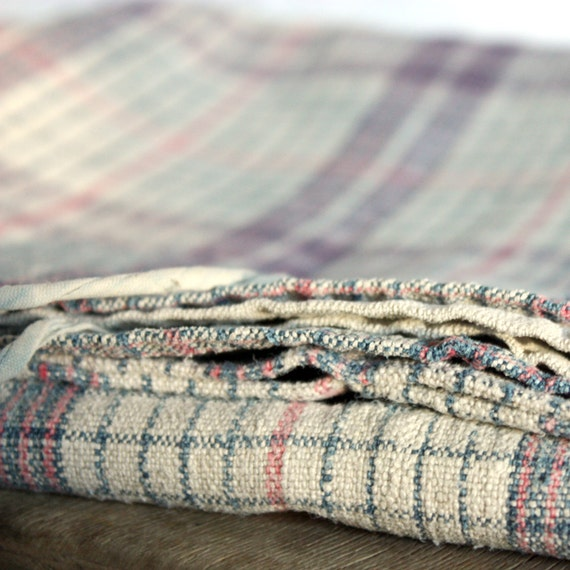 1 beautiful Old  FRENCH Alsatian  linen KELCH  - plaid - very large PILOW cover