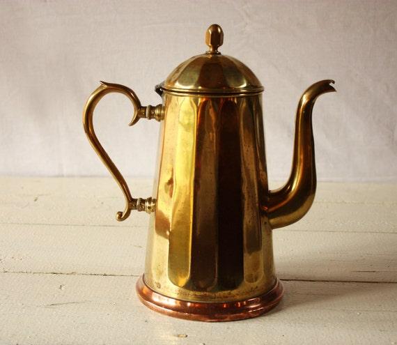Great ART DECO Copper and Brass Belgian JIMA coffee pot