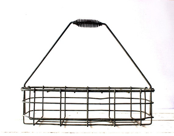 Vintage French  bottle  wire BASKET  Shabby chic - INDUSTRIAL LOFT