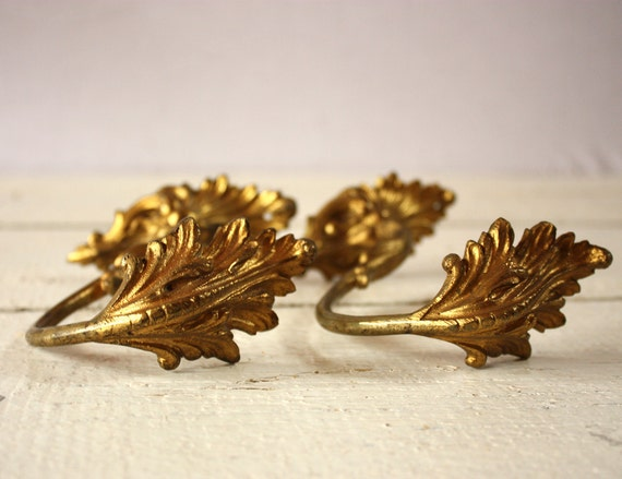 2 Beautiful  Antique French BRASS curtain tiebacks with leaves motif