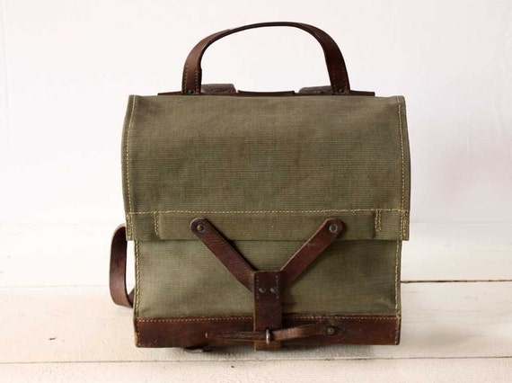 AMAZING old Canvas and leather little SWISS RUCKSACK/Briefcase  - Shabby Chic -