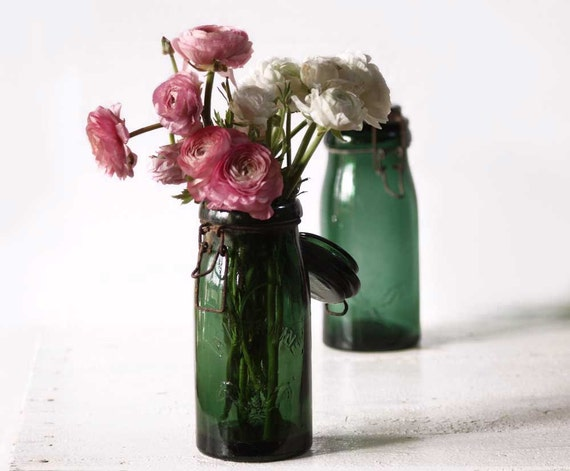 1 ORIGINAL Vintage Green french canning jar LA LORRAINE with Thistle