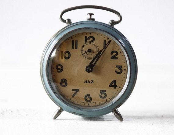 BEAUTIFUL Vintage French JAZ   BLUE Alarm clock