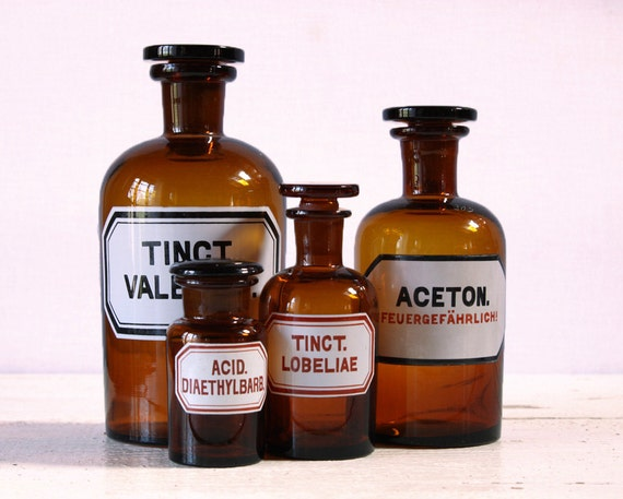 Set of 4 Antique  amber APOTHECARY Bottles with label