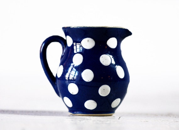 Antique little FRENCH ceramic Milkpot with DOTS shabby chic