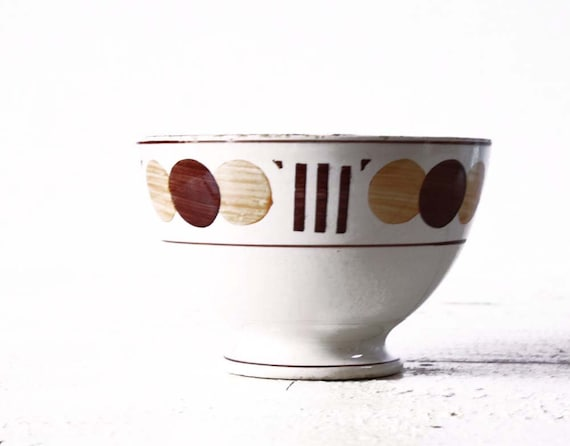 1 LOVELY vintage French BOWL  bols cafe au lait  - with dots motif