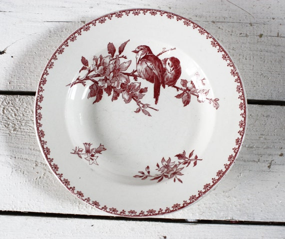 """Set of 3 soup plates RED French BIRDS Plates """"FAVORI """" Sarreguemines"""