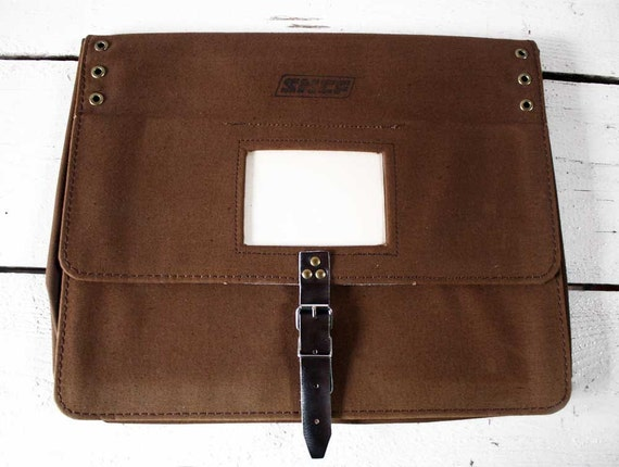 SHABBY chic vintage FRENCH Brown  CANVAS Briefcase- French national railway - Ipad - Laptop