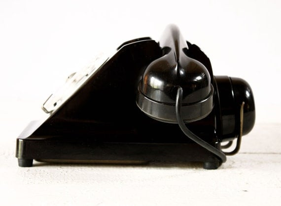 "Gorgeous original French Phone of the 50 s  in black bakelite with the "" Mother-in Law"" listener."