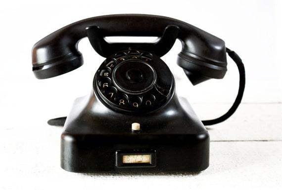 BEAUTIFUL original German Phone SIEMENS w36 Black  bakelite - LOFT deco