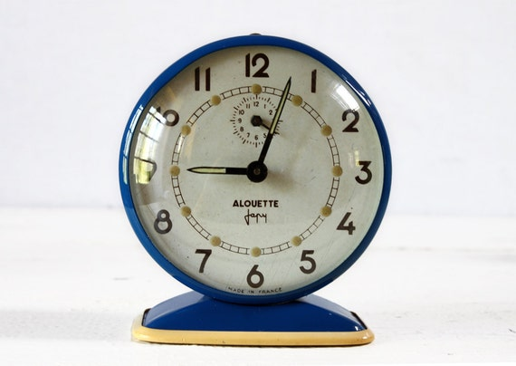 "Lovely vintage French JAPY ""Alouette""  BLUE Alarm CLOCK"