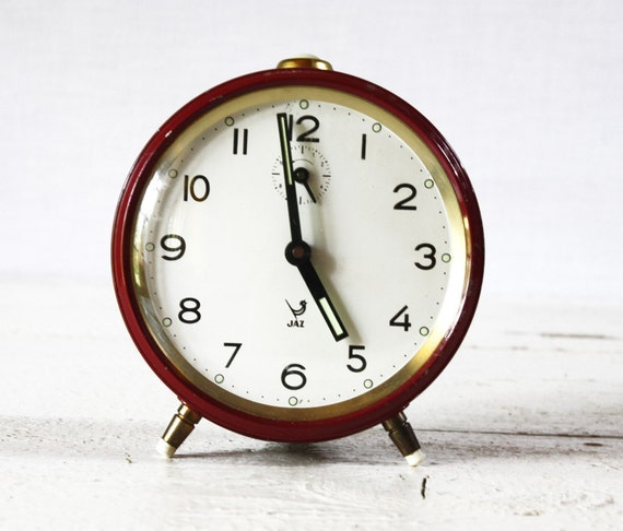 CUTE vintage French JAZ dark red  Alarm CLOCK