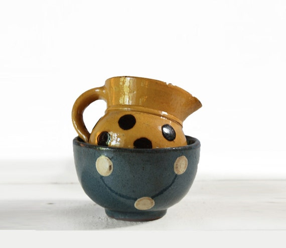 Antique little FRENCH SAVOIE ceramic Pot and bowl with DOTS shabby chic