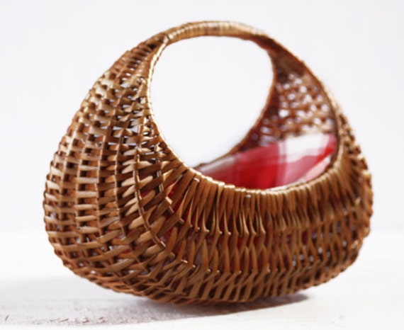 "Cute little Vintage French CHILD woven ""Gondola"" BASKET 1950"