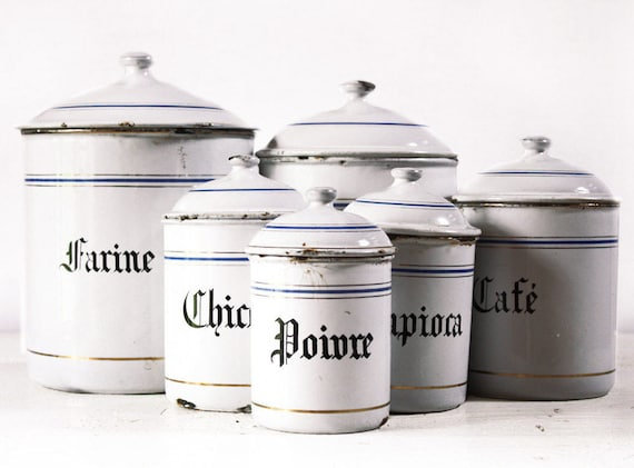 VERY LARGE French set of six WHITE and blue enamel canisters with beautiful blue and gold stripes