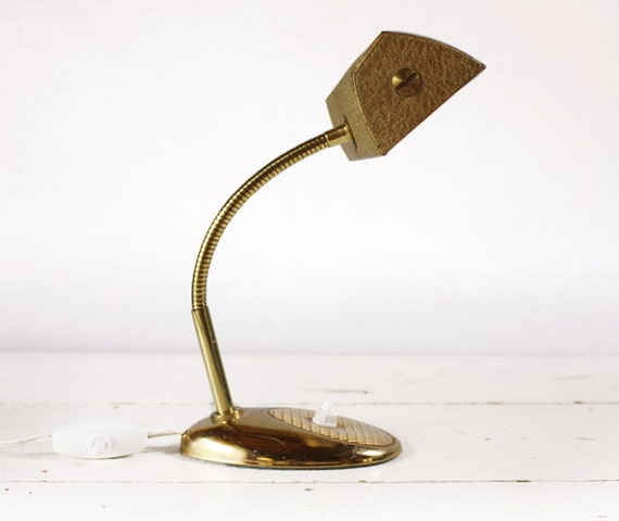 FRENCH  MIDCENTURY Industrial GOLD Desk Lamp