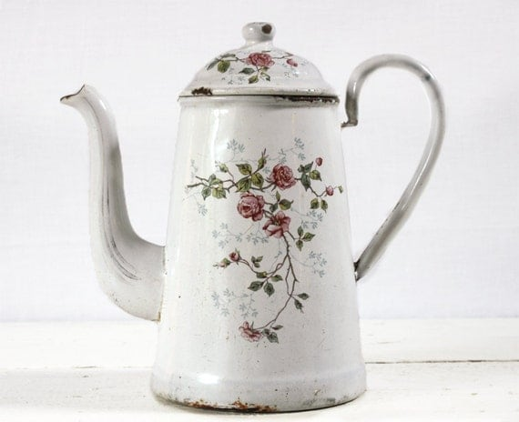 Delicate little FRENCH Enamel Coffee POT with Roses motif