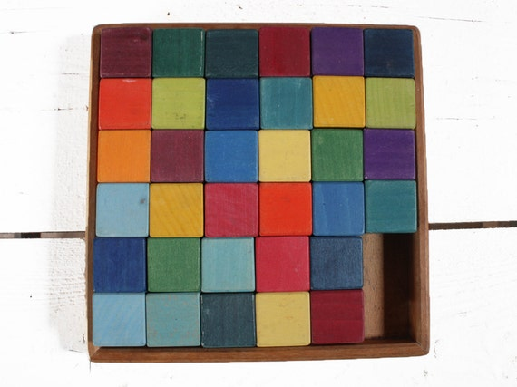 Vintage German WOODEN Toy with colored wooden cubes