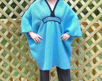 CAFTAN PATTERN #139 or Blue Caftan with Black Trim in Dress to Tunic Length Available